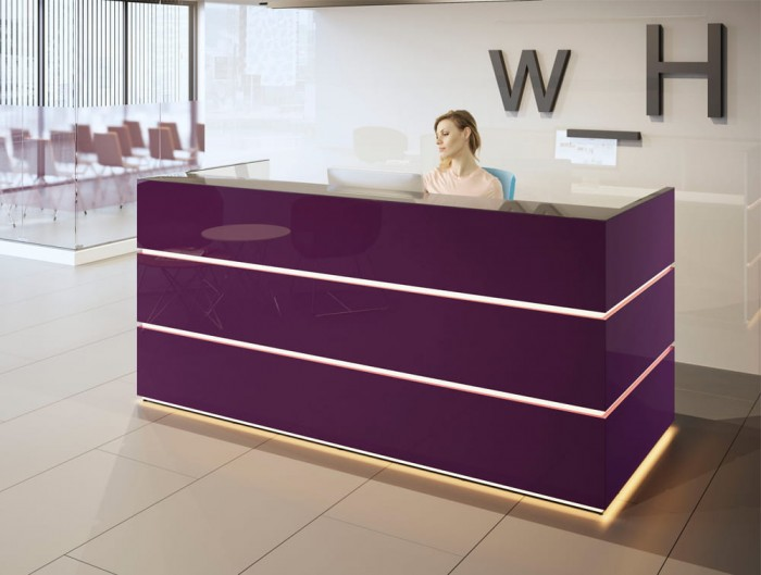 Pearl Stylish Reception Counter Desk in Purple Acrylic Finish with LED Lighting