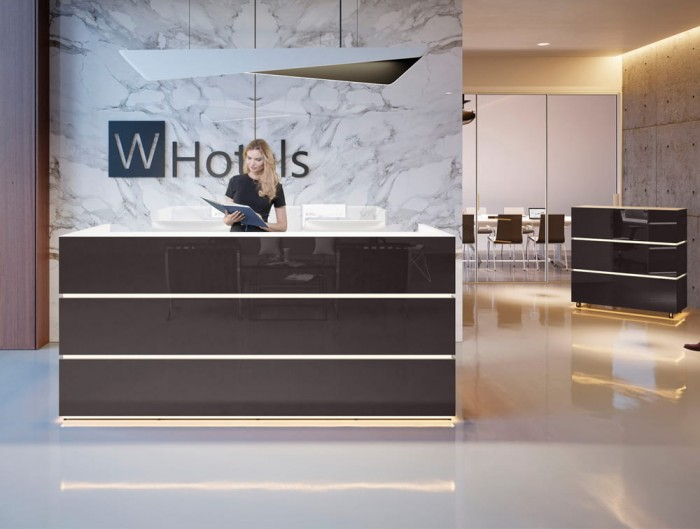 Pearl Stylish Reception Counter Unit in Dark Brown Acrylic Finish in Office with Ceiling Lighting