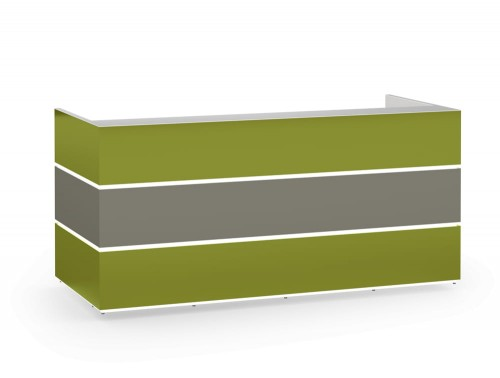 Pearl Stylish Reception Desk Counter Unit with Glass Countertop Green and Grey Finishes