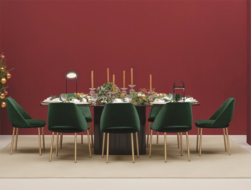 Pedrali Aero Table with Rectangular Base 2 in Black Finish with Green Chair in Dining Area.jpg