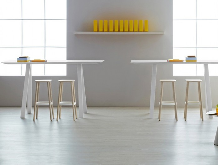 Pedrali Arki Rectangular High Table with Steel Trestle Legs 4 in White Finish with Wooden Stool in Cafeteria.jpg