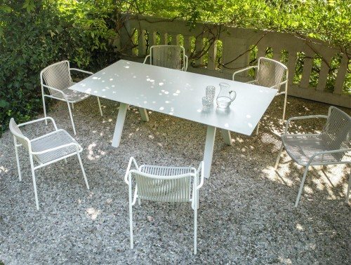 Pedrali Arki Rectangular Table 2 in White Finish with White Metal Chair in Outdoor Setting.jpg