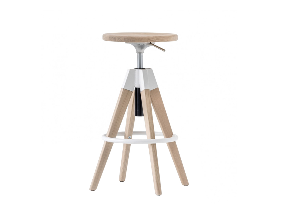 Pedrali Arki Swivel Oak Stool with Gas Lift