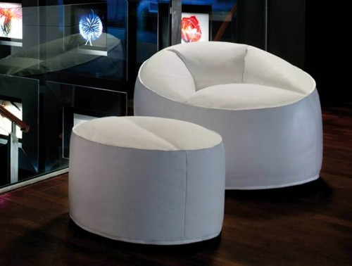 Pedrali Island Pouf Lounge Armchair 2 in White with Pouf.jpg