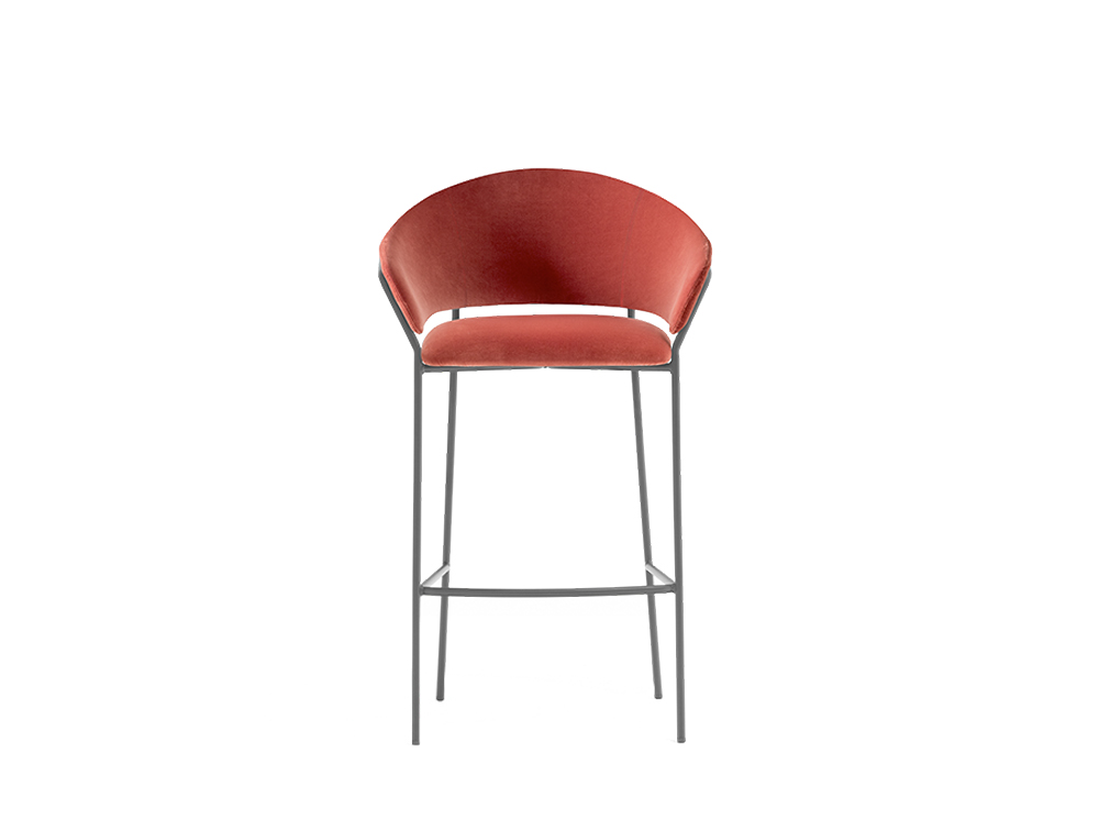 Pedrali Jazz High Upholstered Stool with Backrest