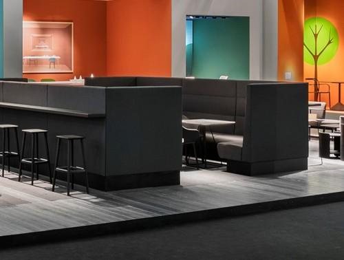 Pedrali Modus 2.0 Modular Corner Sofa 2 in Black with Modular Seatings in a Bar.jpg