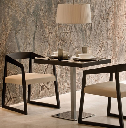 Pedrali Sign Solid Wood Chair 2 in Black Finish with Square Table in Cafe Setting