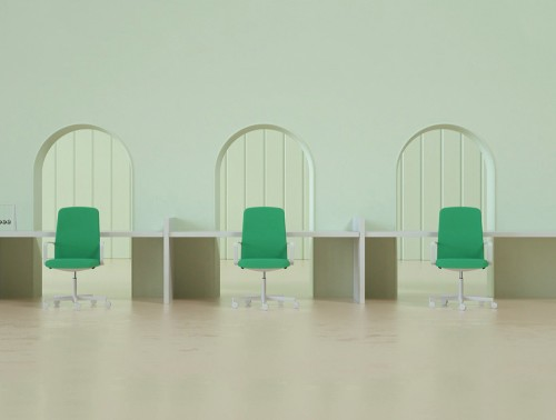 Pedrali Temps Executive Chair 2 in Green with Long Desk in Open Working Space.jpg