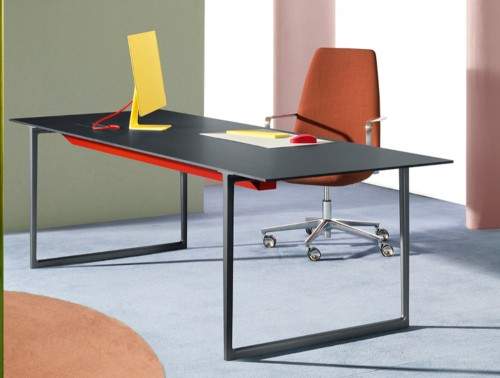 Pedrali Toa Industrial Style Table 2 in Black Finish with Orange Chair in Workspace.jpg
