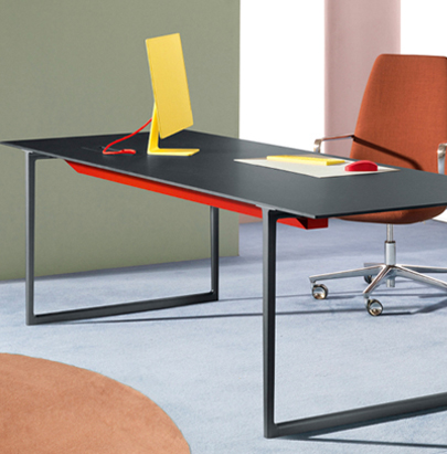 Pedrali Toa Industrial Style Table 2 in Black Finish with Orange Chair in Workspace