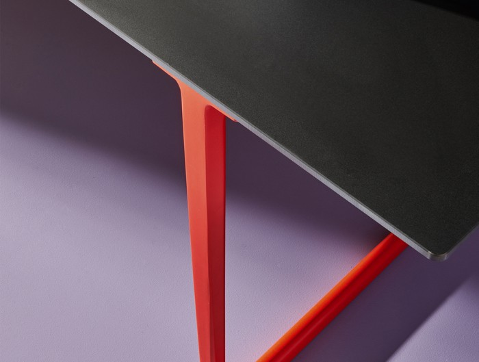 Pedrali Toa Industrial Style Table 9 in Black Top Finish with Orange Legs.jpg