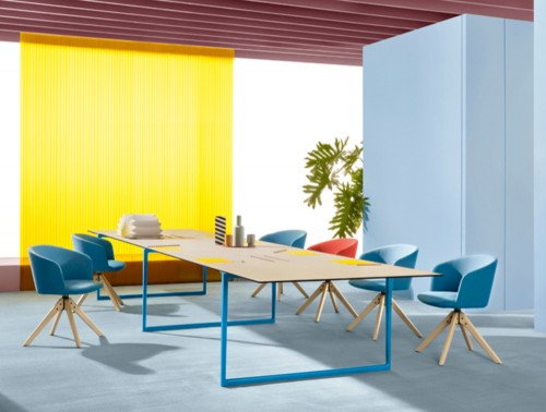 Pedrali Toa Rectangular Table 2 in Wooden Top Finish and Blue Legs with Chairs in Working Space.jpg