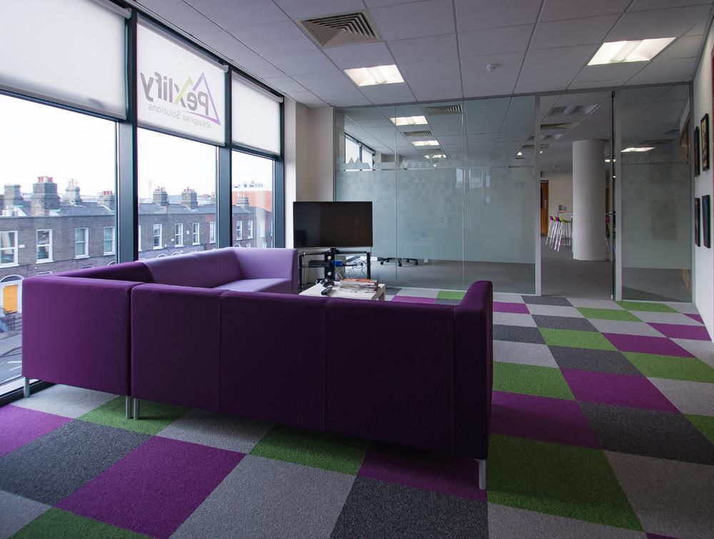 Pexlify Office Interior Purple Sofas with Contrast Floor Mat
