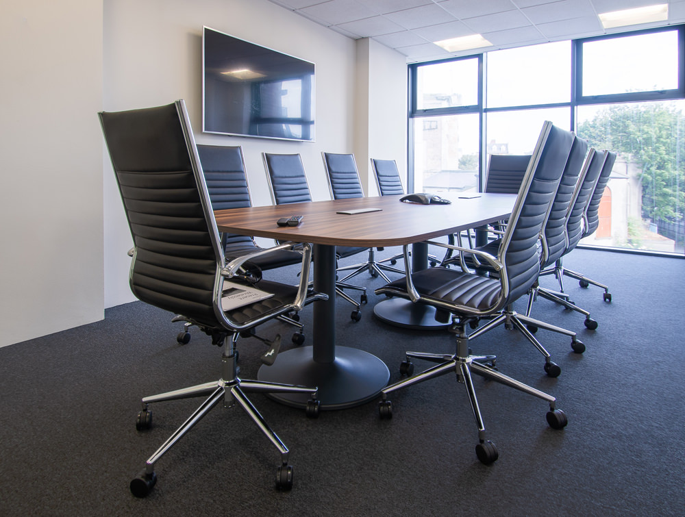 Pexlify Office Layout Boardroom Table with Black Meeting Room Swivel Chairs