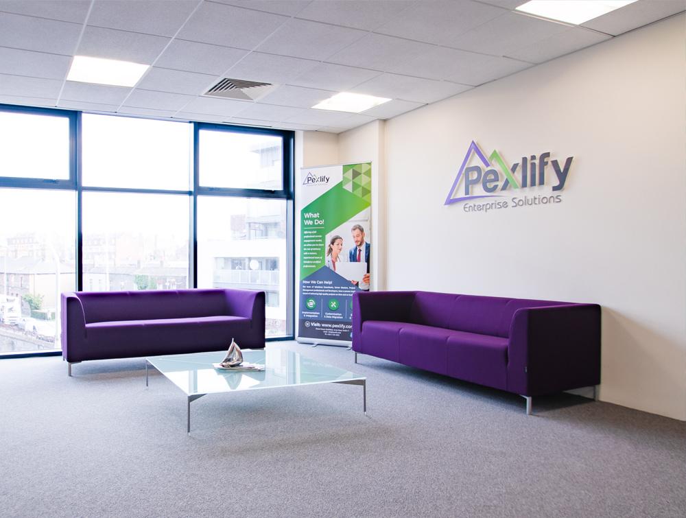 Pexlify Office Layout Purple Reception Seating