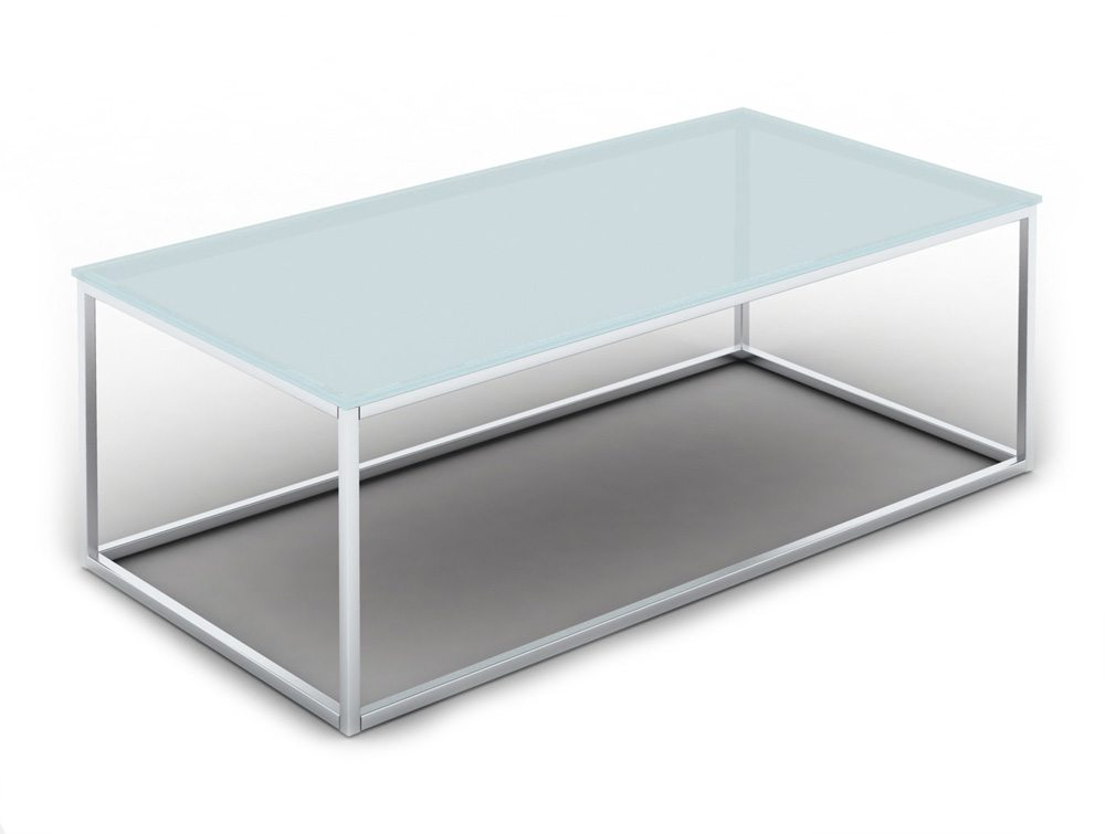 Pitch Rectangular Glass Coffee Table with Closed Chrome Frame
