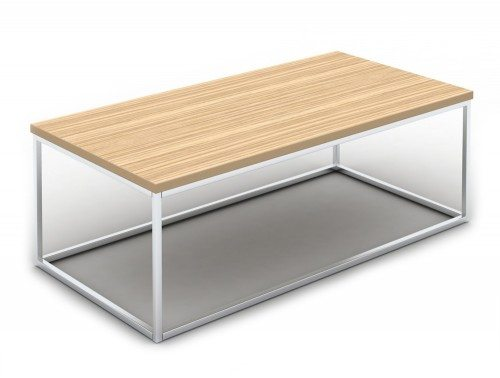 Pitch Rectangle Coffee Table with Closed Chrome Frame in Zebrano