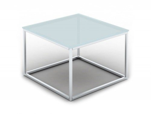 Pitch Square Coffee Table with Closed Chrome Frame in Glass