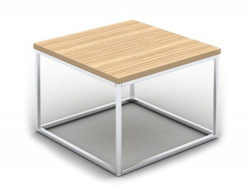 Pitch Square Coffee Table with Closed Chrome Frame in Zebrano