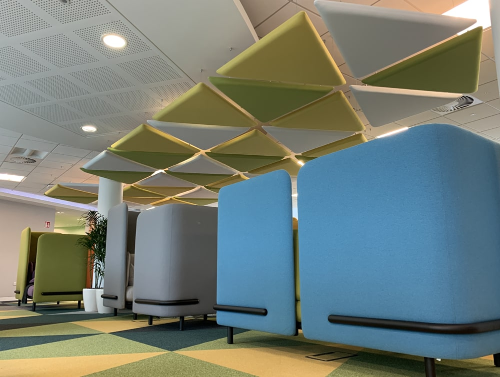 Playrix Office Ceiling Suspended Green Triangular Acoustic Panels