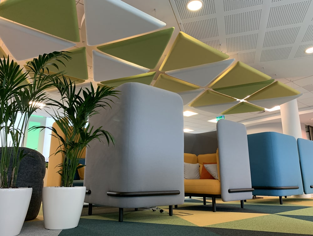 Playrix Office Grey High Roof Meeting Den with Yellow Cushions Celining Acoustic Panels