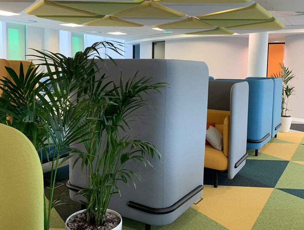 Playrix Office Grey High Roof Meeting Den with Yellow Cushions