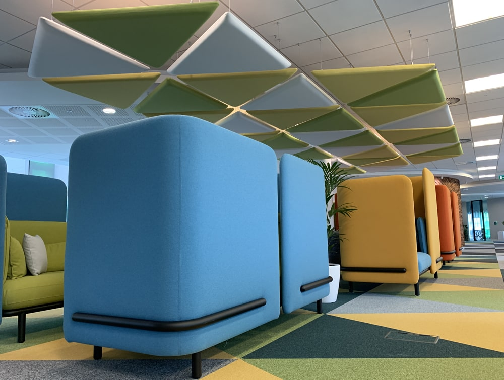 Playrix Office High Roof Meeting Dens with Overhead Acoustic Panels for Privacy