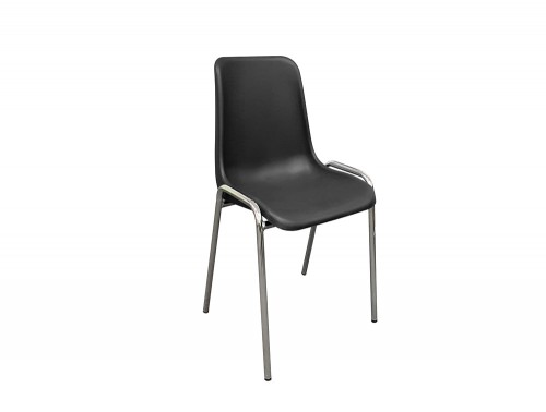 Poly Office Stacking Chairs with Chrome Frame and Black Seat Shell