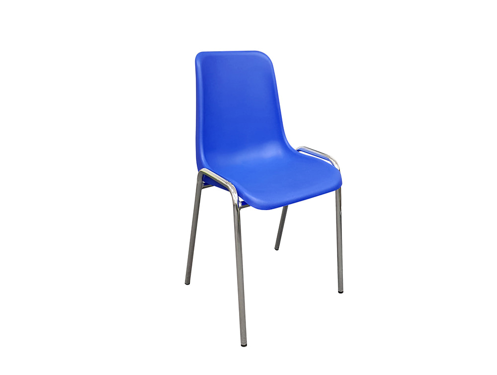 Poly Office Stacking Chairs with Chrome Frame - Cobalt Blue