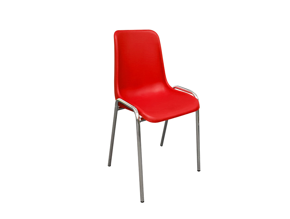 Poly Office Stacking Chairs with Chrome Frame - Rose