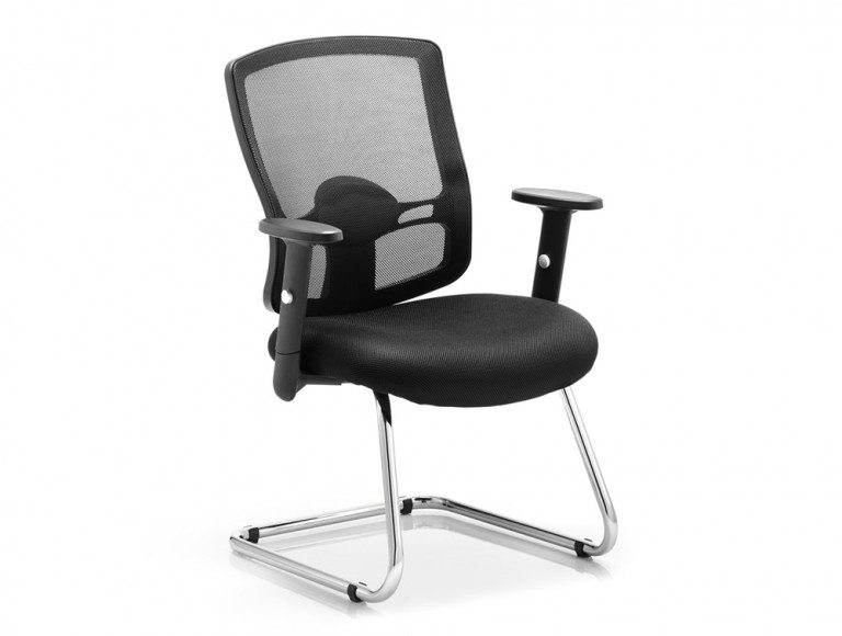 Portland Visitor Cantilever Chair Black Mesh With Arms Featured Image
