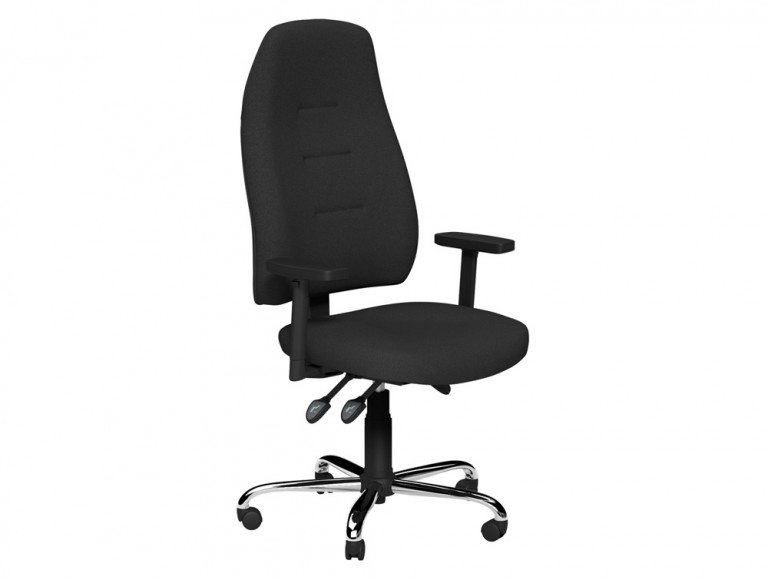 Positura 3 Lever Chair  Chrome Base Adjustable Step Arms with Sliding Tops in E001 Black