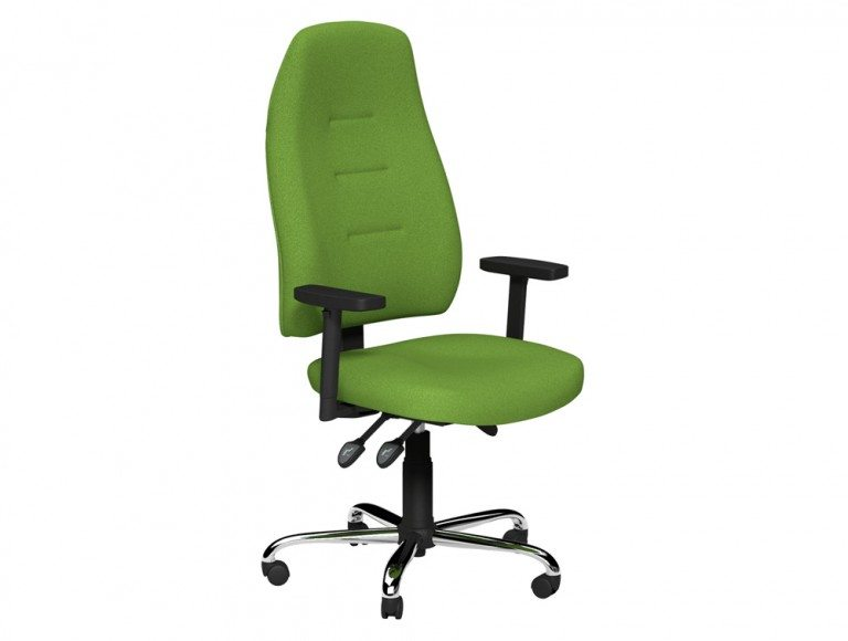 Positura 3 Lever Chair  Chrome Base Adjustable Step Arms with Sliding Tops in E051 Green