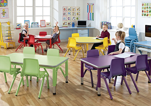 Primary or Preschool Classroom with Colourful Furniture Tables and Chairs