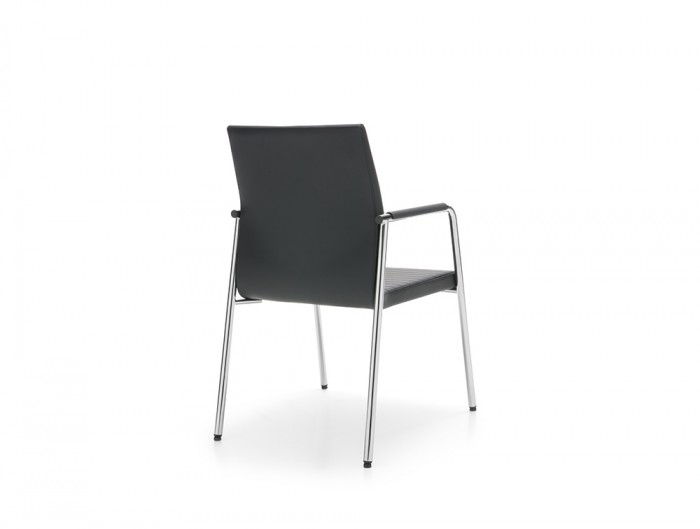 Profim Acos Armchair for Office Executive Room in Black Leather with Chrome Frame and Hard Glides