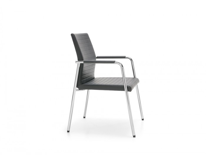 Profim Acos Executive Armchair Conference and Meeting Room in Ribbed Black Leather with Chrome Frame
