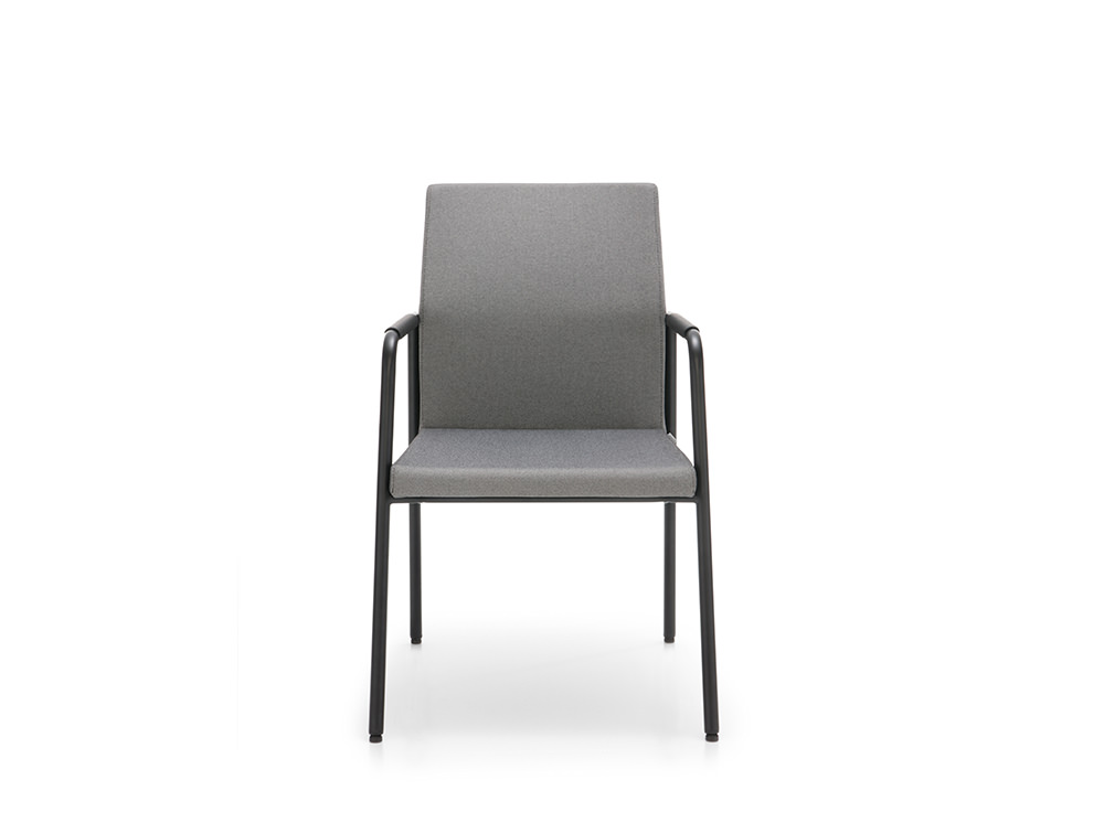 Profim Acos Executive Armchair Conference and Meeting Room in Upholstered Grey Seat and Black Frame