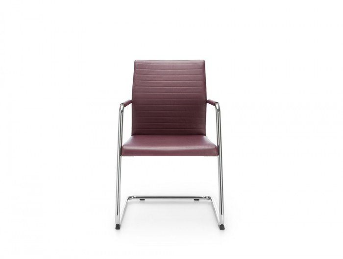Profim Acos Executive Armchair Ribbed Purple Leather for Conference or Meeting Room