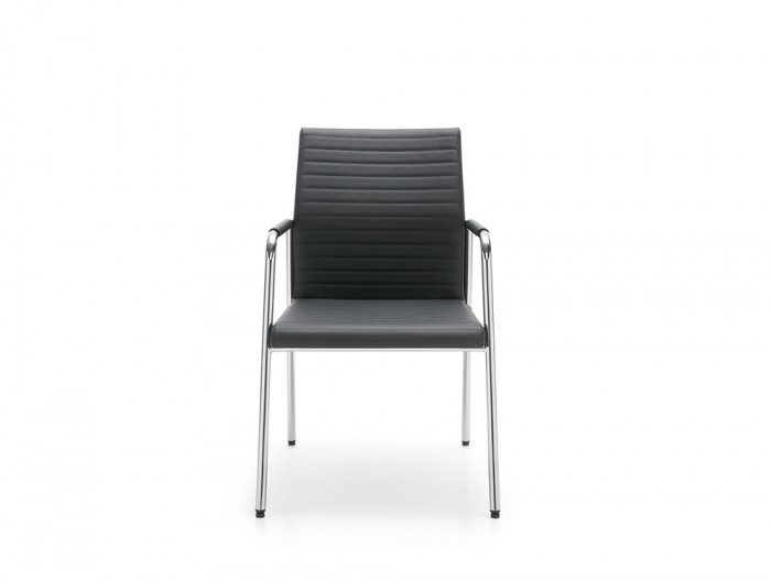 Profim Acos Executive Armchair for Reception Area Ribbed Black Leather Seat with Armrest Pad