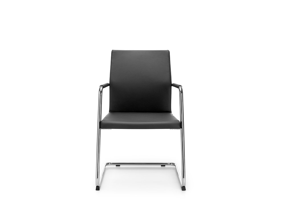 Profim Acos Executive Armchair in Black Leather Finish and Chrome Cantilever Base