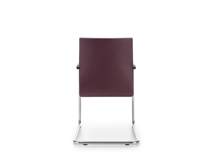 Profim Acos Executive Armchair in Purple Leather Finish and Cantilever Chrome Frame