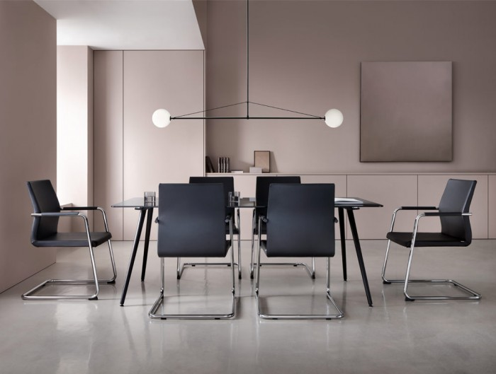 Profim Acos Executive Armchair with Cantilever Base in Modern Meeting Room in Black Leather with Table Storage and Design Ceiling Light