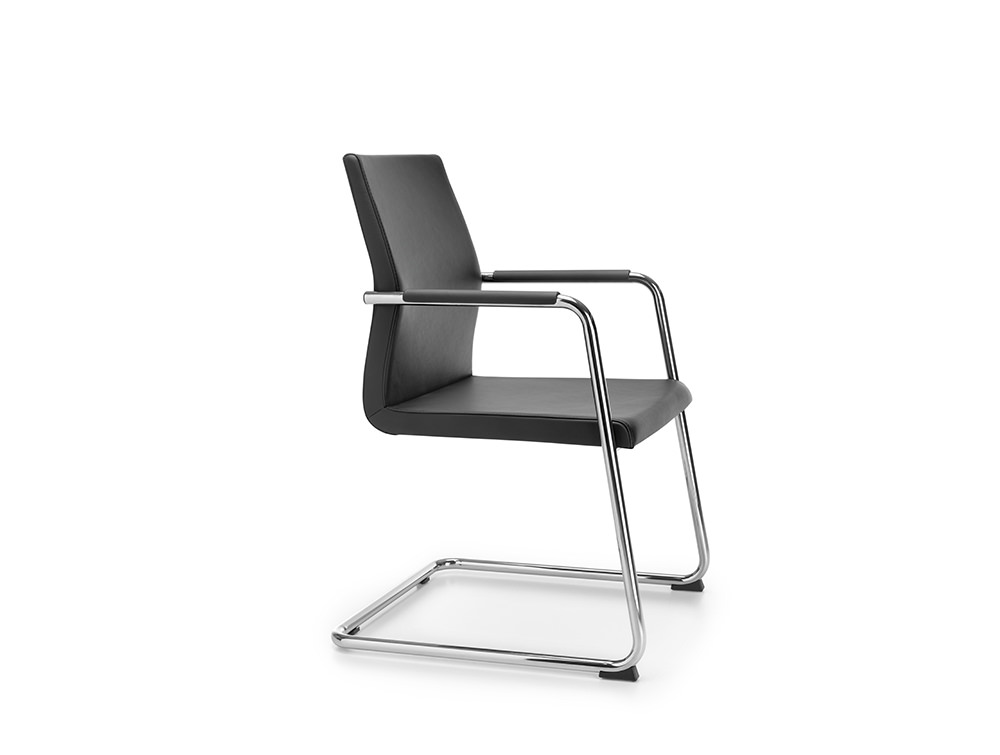 Profim Acos Executive Meeting Room Chair with Armrest Pad in Black Leather