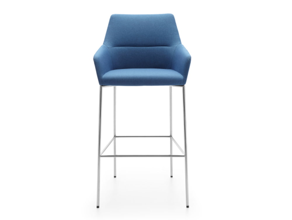 Profim Chic Bar and Canteen Stool with Armrests and Metal Legs in Upholstered Blue