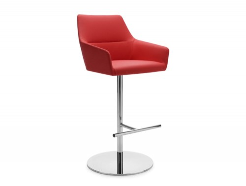 Profim Chic Bar and Canteen Stool with Armrests and Round Base in Red Faux Leather