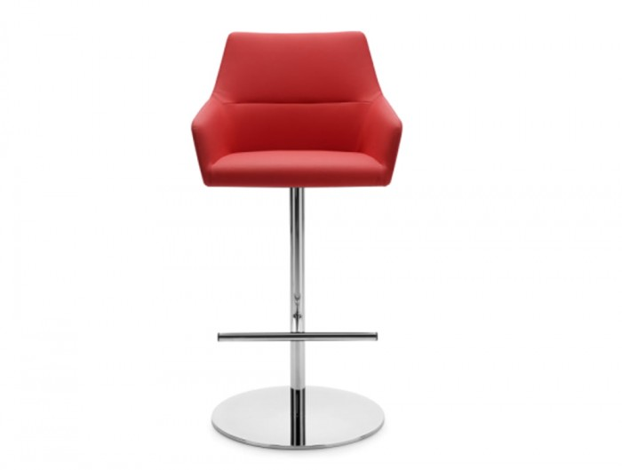 Profim Chic Bar and Canteen Stool with Armrests and Round Base in Red Finish