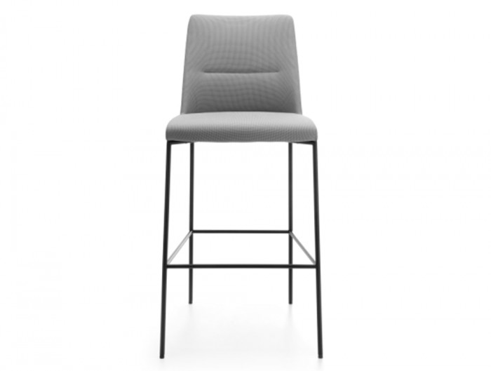Profim Chic Bar and Canteen Stool without Armrests and Metal Legs in Upholstered Grey