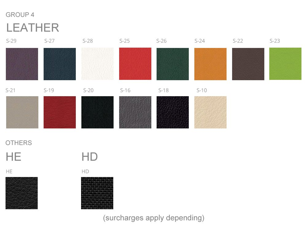 Profim Colour Swatches Group 4 and 5 Leather, HE and HD