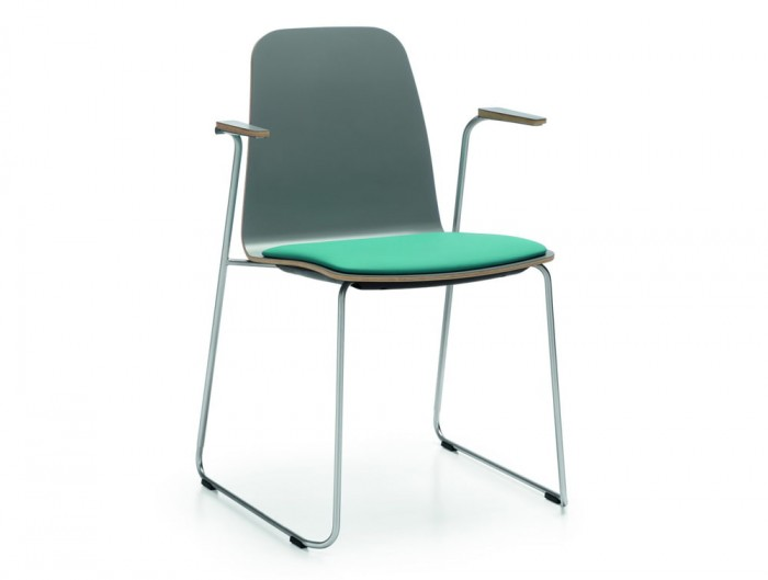 Profim Com Chair with Upholstered Seat Pad in Green