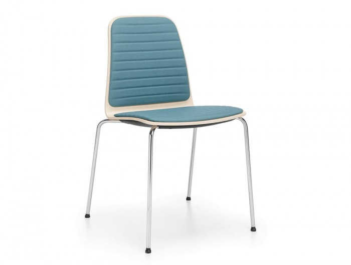 Profim Com Chair with Upholstered Seat and Backrest Pad in Blue